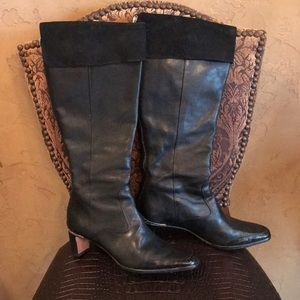 Brighton black leather and suede boots